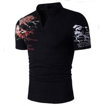 Men's V Neck Summer T Shirt Men Tee Casual Men's Slim Fit Short Sleeve T Shirt Solid Fashion Print Male's Tops New D30 недорого