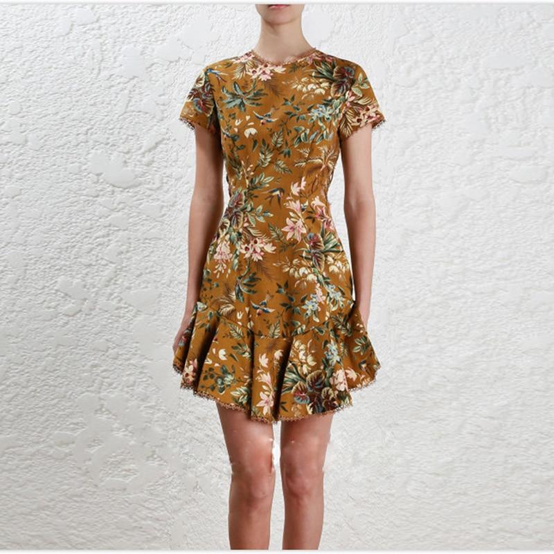 Courtes Sirène Nouveau Robe Évider À Femmes Designer Floral Laçage Manches Nu Dos 2018 De Mode Corde D'été qawBnqzU