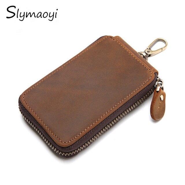 Slymaoyi Vintage Genuine Leather Key Wallet Women Keychain Covers Zipper Key Case Bag Men Key Holder Housekeeper Keys Organizer