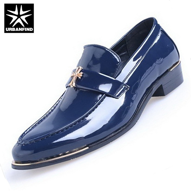 URBANFIND Men Fashion Dress Oxfords PU Leather Footwear EU Size 38-43 Slip-on Man Casual Flat Shoes Black / Blue / Brown / Red