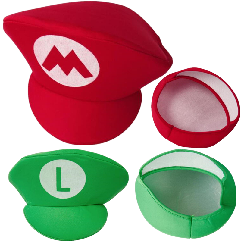 Adult Kids Game Super Mario Bors Cosplay Hats Red Green Cap