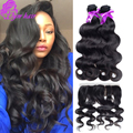 Peruvian Body Wave Ear to Ear Lace Frontal Closure With 3 Bundles Peruvian Virgin Hair Body Wave With Closure  Human Hair Weave
