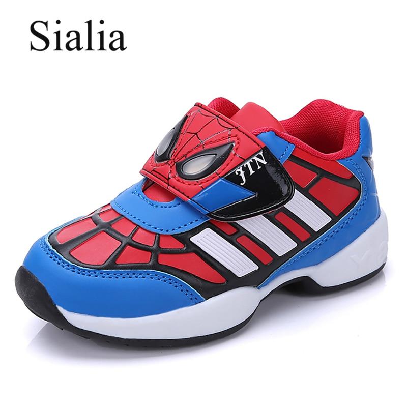 Sialia Leather Children Sneakers For Boys Shoes Kids Casual Sneakers Spiderman School Trainer 2018 Cartoon Footwear Sport Shoes