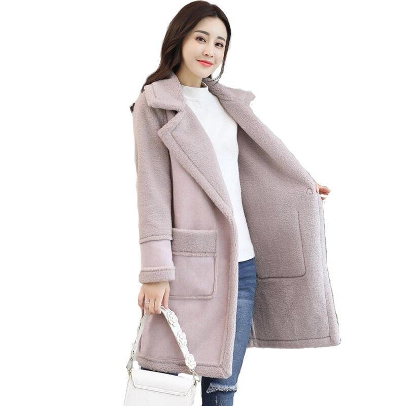 Pardessus Laine Imitation D'hiver Tang Lâche Qh1078 Cuir Agneau Pink Chaud Long Light Mode Manteau Survêtement Épaississent En Daim 2018 jiao Femme Veste a15qYggw