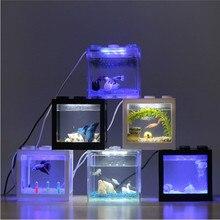 Acrylic Aquariums with Lamp Transparent Tanks 12X8X10cm Mini USB LED Lighting Fish Tank Aquarium Ornament Office Desktop Decor