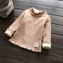 Girls T Shirt 5 colors for 2-7T Children Girl solid Cotton shirt New 2016 Baby Clothes Autumn Winter Sequin Kids