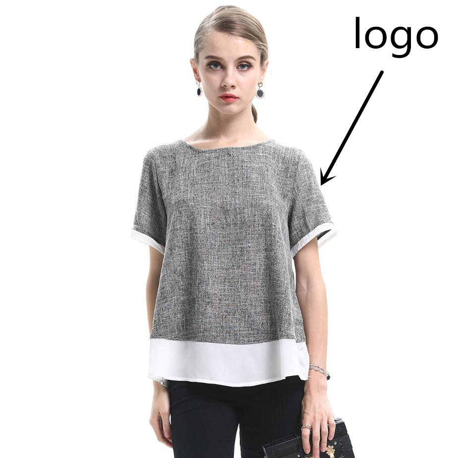 2019 summer new large size women's round neck short sleeve stitching French brand women's t shirt Free shipping worldwide
