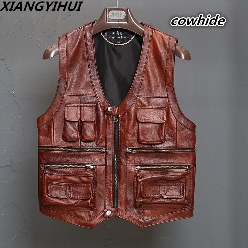 New Men's Waistcoat Genuine Leather Reporters Suit More Than Pocket Quinquagenarian Men Cow Leather Vest Tops Sleeveless Jacket