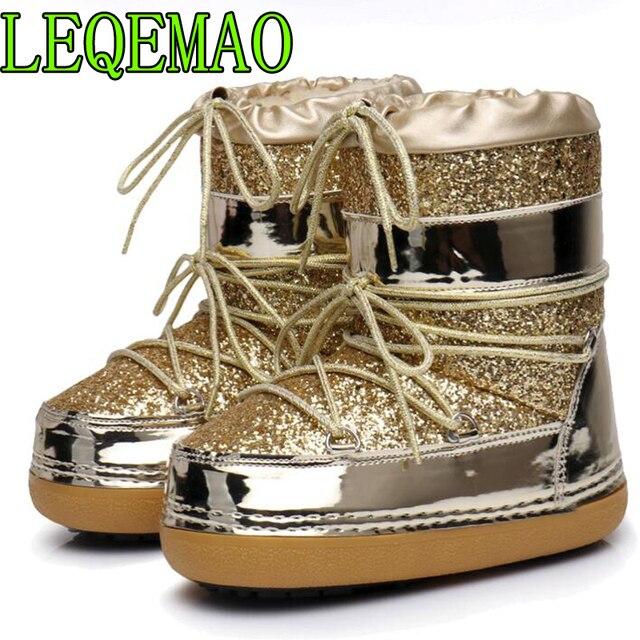 Snow Boots Winter Ankle Boots Women Shoes Fur Warm Boots Female Plus Size Casual Shoes Platform Non Slip Gold Bling Lack Up