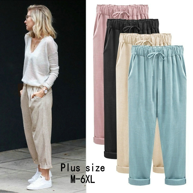 ZOGAA Harem Pants Female Trousers Spring Loose Cotton Linen Wide Plus-Size Summer Casual
