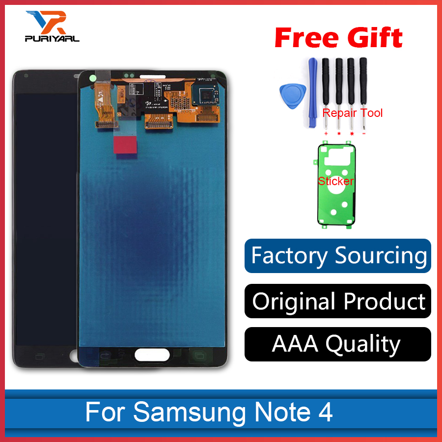 100 Original Super AMOLED Pantalla For Samsung Galaxy Note 4 N910 N910F LCD Display Screen Touch Screen Assembly Replacement in Mobile Phone LCD Screens from Cellphones Telecommunications