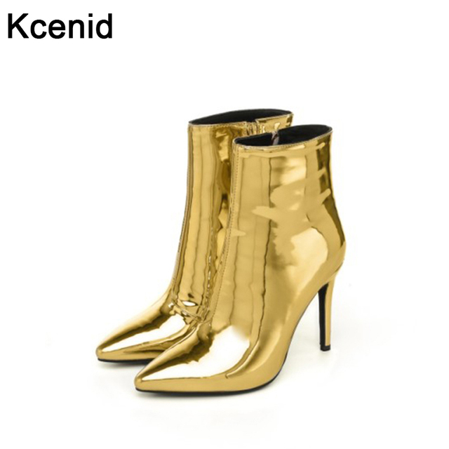 b70bbd4069e2 Kcenid Gold silver mirror patent leather fashion shoes pointed toe women  ankle boots high heels women pumps short bota feminina