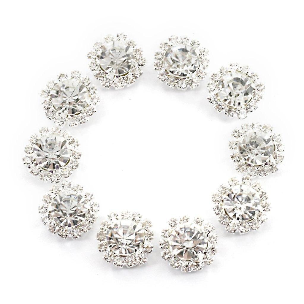 Crystal Rhinestone Button Flat Back Decoration DIY 15mm 10 Pcs Clear