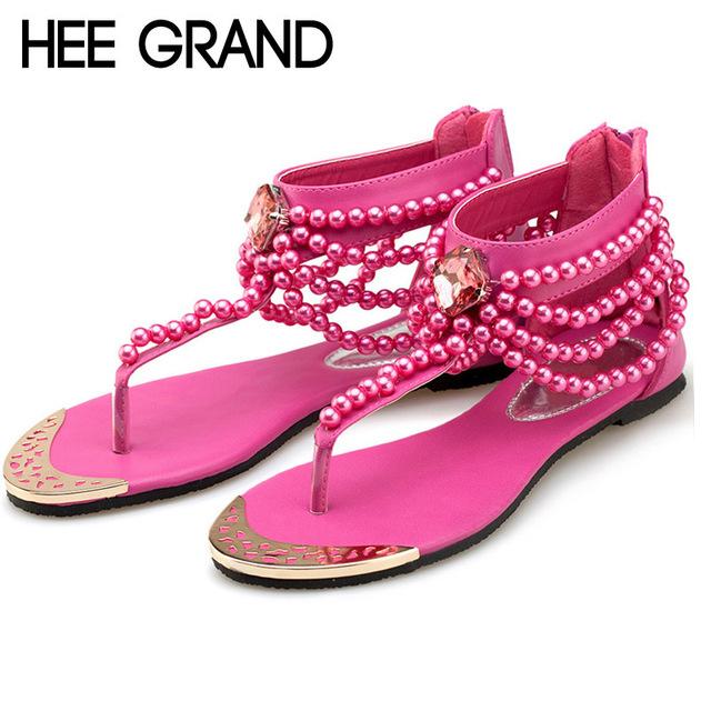 Hee grand bling estilo gladiador sandálias t cinta-chinelos de verão mulher apartamentos sapatos de strass pérola mulheres sapatos casuais xwz2015