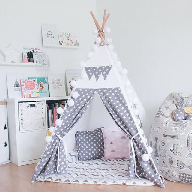 gris toiles enfants jouent tente tipi indien enfants playhouse enfants salle de jeux tipi dans. Black Bedroom Furniture Sets. Home Design Ideas