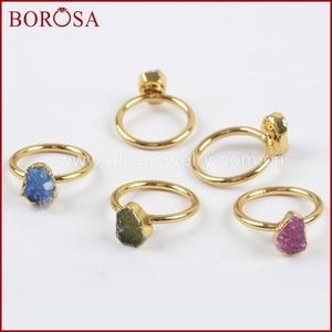 Image 3 - BOROSA צבעים מעורבים אלגנטיים זהב צבע קשת צורה חופשית Druzy טבעות לנשים, אופנה טבעות מפלגה תכשיטי Drusy כמתנה G1450