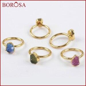 Image 3 - Borosa 우아한 혼합 된 색상 골드 컬러 freeform 레인 보우 druzy 반지 여성, 패션 drusy 쥬얼리 파티 반지 선물 g1450