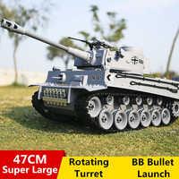 Deutsch Tiger 2A6 Schlacht Simulation Armee Military RC Tank 1:18 2,4G Fernbedienung Tank Mit Rauch & Sound & BB Kugel & Licht Funktion