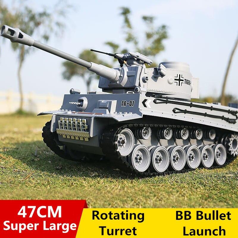 Tigre allemand 2A6 bataille Simulation armée militaire RC Tank 1:18 2.4G réservoir télécommandé avec fonction fumée & son & BB balle & lumière