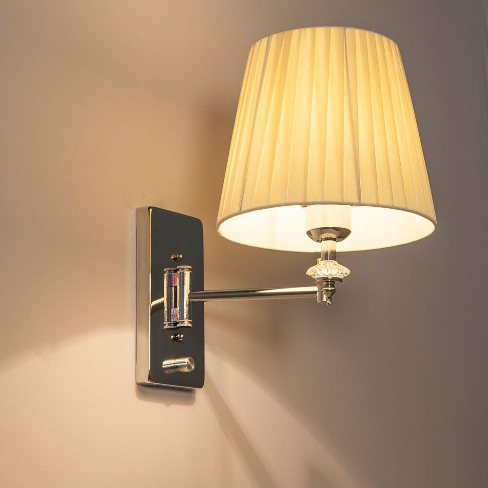 HGhomeart Moderne Applique Murale Lumières Luminaria Lampe De Lecture De Chevet Bras Oscillant Mur Lampe E27 Crystal Applique Salle De Bains Lumières