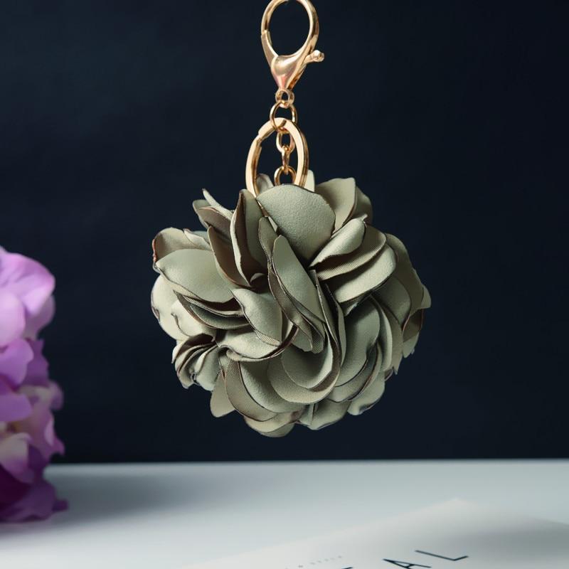 Korean Style Burning Rose Flower Key Chian Pendant Immortal Hair Bag Flower Keychains Women Men Car Bags Accessories