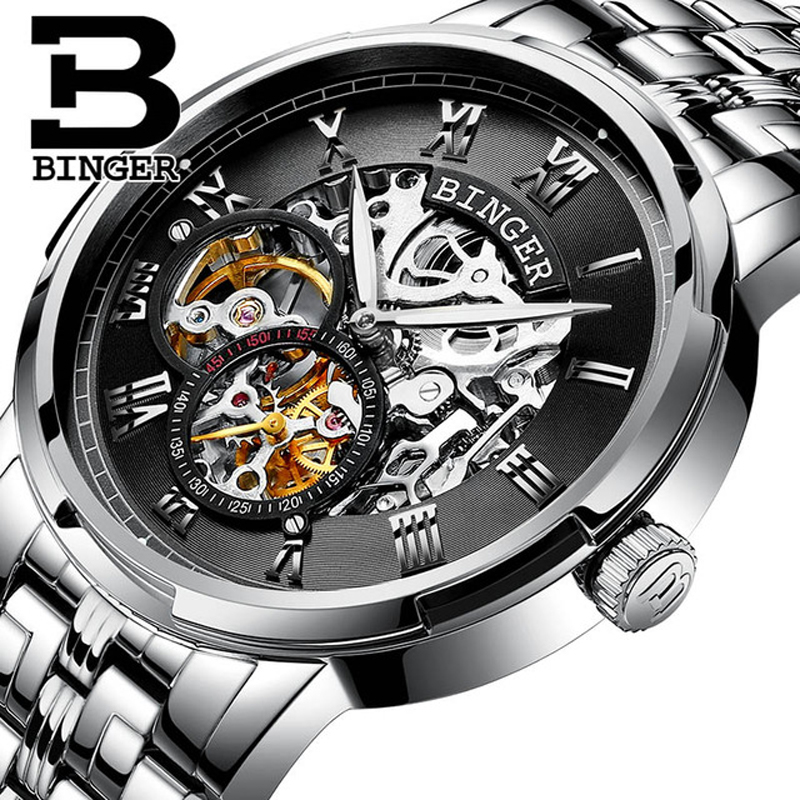 Luxury Stainless Steel Skeleton Design Watches Relogio Masculino Switzerland BINGER Automatic Watches For Men Mechanical Clock(China)