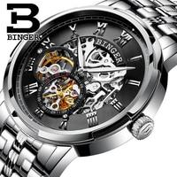 Luxury Stainless Steel Skeleton Design Watches Relogio Masculino Switzerland BINGER Automatic Watches For Men Mechanical Clock