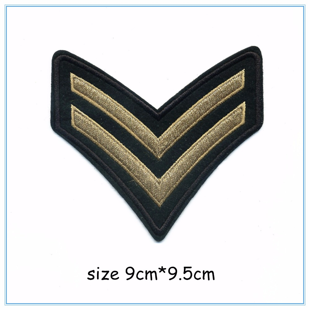 DOUBLEHEE 009 2Line V Army College Style Embroidery Patches Iron On Or Sew Fabric Sticker For Clothes Embroidered Appliques DIY