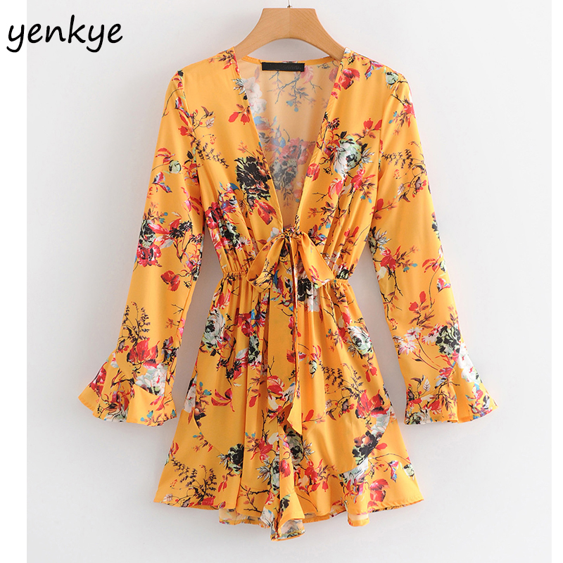 2019 Floral Print  Boho Summer Beach Jumpsuit Women Sexy Deep V Neck Long Sleeve Casual Rompers Womens Jumpsuit Short  SYJZ1902