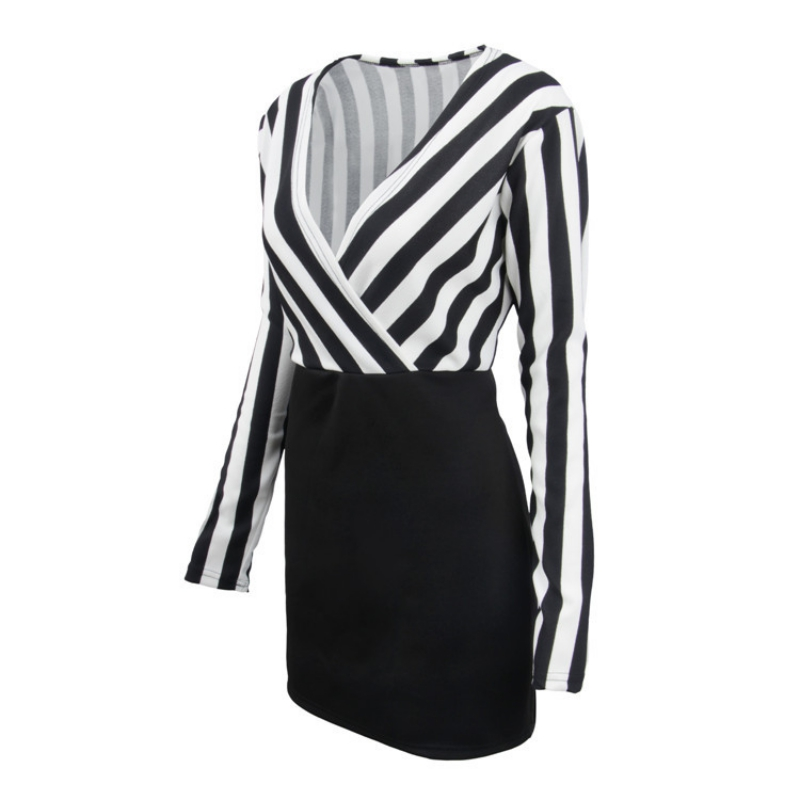 Europe and the United States V-neck striped stitching long-sleeved slim bag hip dress solid black S women clothing 4