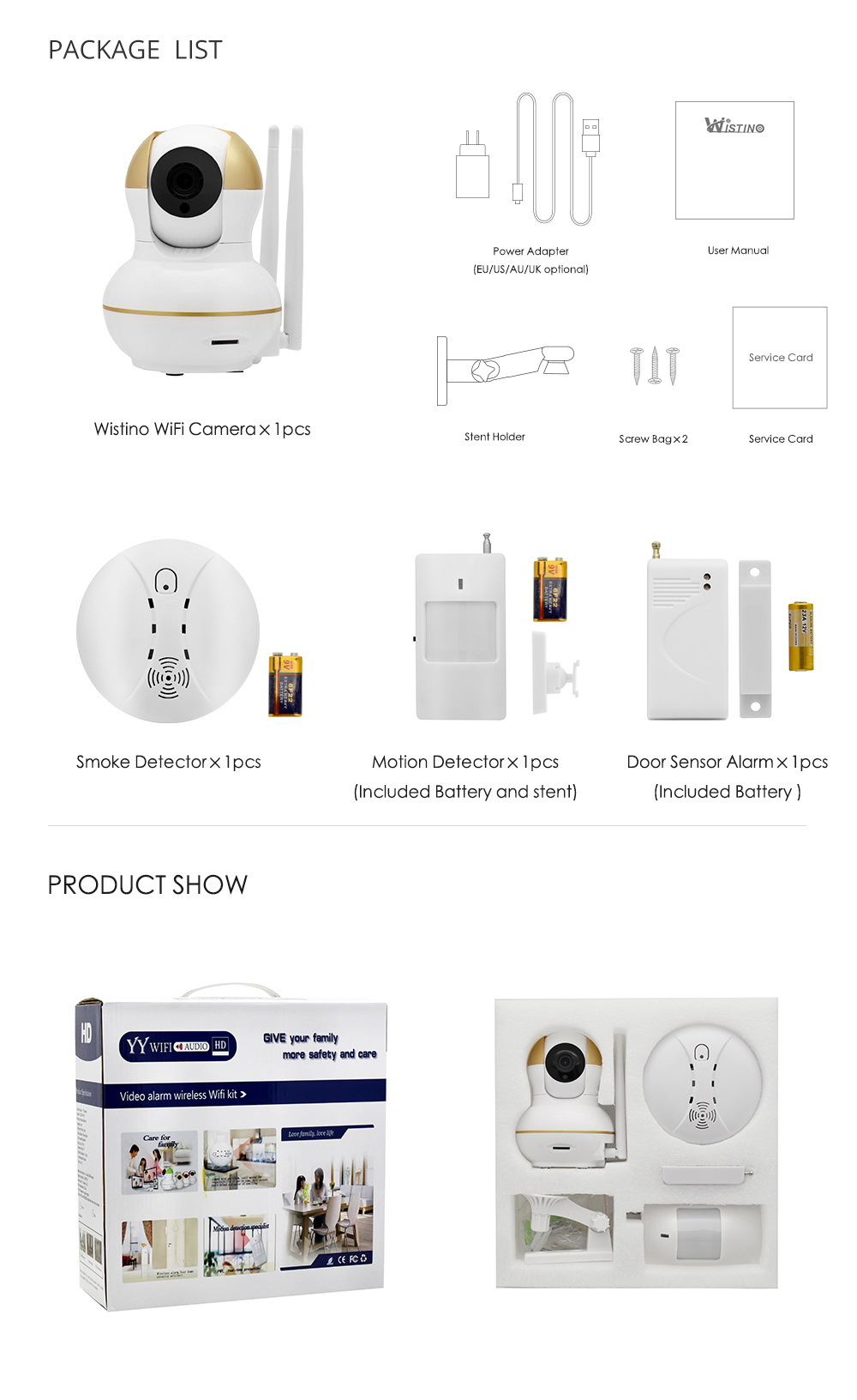 Wistino Alarm Systems Security WIFI IP Camera Security System Video Monitor Surveillance Camera Wireless Home Alarm System With Sensor Alarm Wifi kit Smart Home Camera 14-1