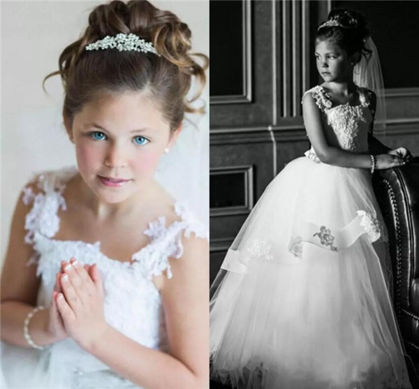 2017 Lovely Ball Gown Puffy Tulle Flower Girl Dresses Spaghetti Strap Lace Hidden Zipper Kids Pageant Dresses Robe fille fleur paul mitchell спрей сверхсильной фиксации для объема extra body firm finishing spray 125 мл