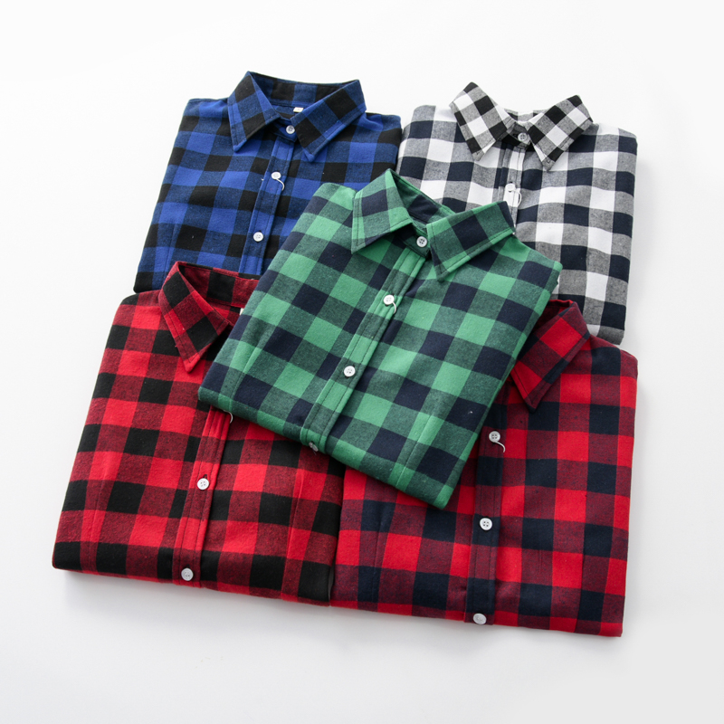 2020 Women Blouses Brand New Excellent Quality Flannel Red Plaid Shirt Women Cotton Casual Long Sleeve Shirt Tops Lady Clothes