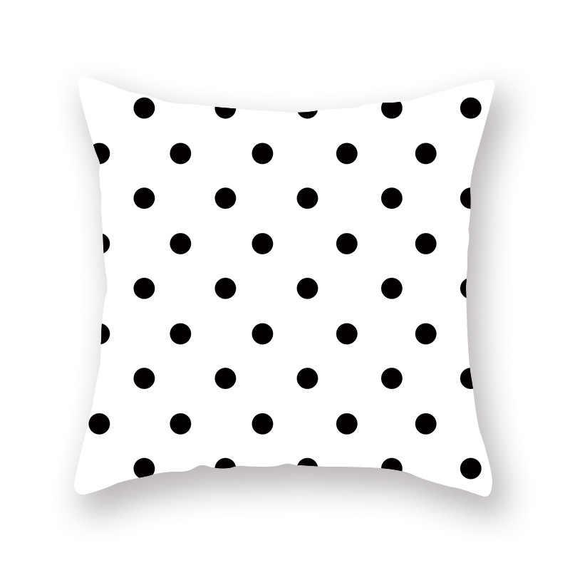黒、白、グレーシンプルな幾何学柄枕カバースクエア枕ケースホームヴィンテージ枕カバー 45*45 センチメートルソファシート