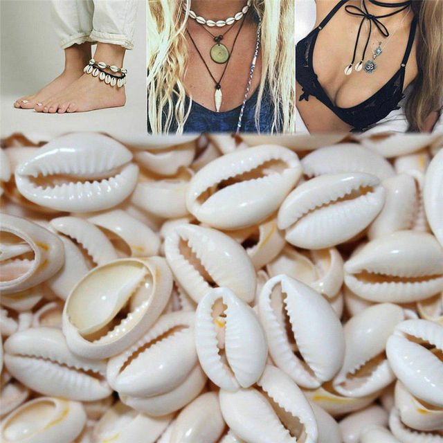 50Pcs White DIY Sea Shell Cowrie Cowry Charm Beads Beach Jewelry Accessories for Women Sea Shells Earrings Bracelet Necklace