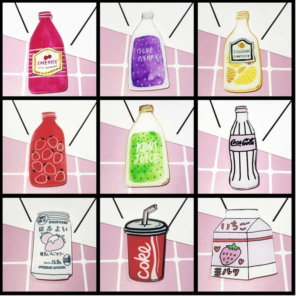 Kartun Akrilik Berkualitas Tinggi Lemon Cherry Buah Kiwi Minuman Botol Susu Bros Topi Kemeja Bros Perhiasan Anak Hadiah Hadiah