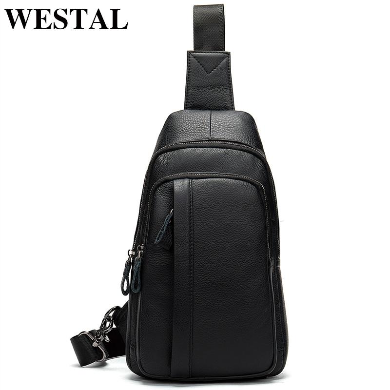 WESTAL leather male sling bag belt shoulder bags for men s messenger crossbody bag genuine leather