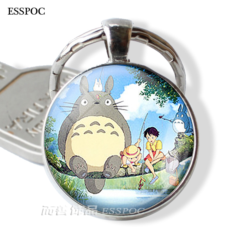 Anime Manga Metal keychain My Neighbor Totoro Glass Dome Cabochon Studio Ghibli Satsuki Mei Tatsuo Yasuko Catbus Key Ring Gift