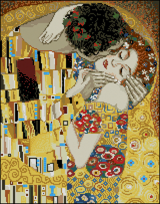 Top Quality Lovely Cute Counted Cross Stitch Kit The Kiss G Klimt Painting Abstract Riolis 1170