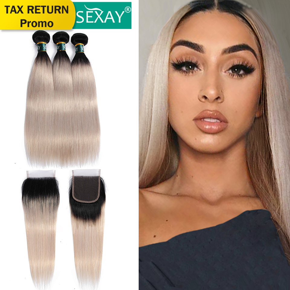 1B/Grey Ombre Bundles With Closure SEXAY Colored Human Hair Silver Grey Brazilian Straight Hair Remy Hair 3 Bundles With Closure