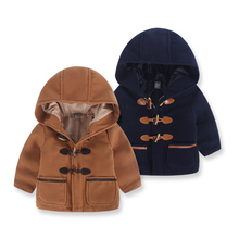 Children's Clothing Boy Woolen Coat Horn Button Baby Hoodie Long Jacket