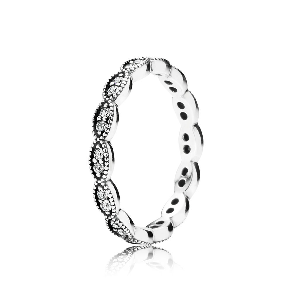 CHAMSS New 925 Sterling Silver Sparkling Leaves Stackable Ring Clear CZ Original Girlfriend Anniversary Fashion Jewelry Gift(China)