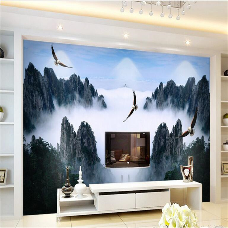 beibehang Large - scale custom wallpaper ink Mianxiu mountains and rivers in the world Chinese living room TV backdrop
