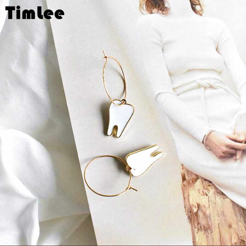 Timlee E086 New Personality Cute Tooth Metal Dangle Earrings,Originality Sweet Accessories Wholesale