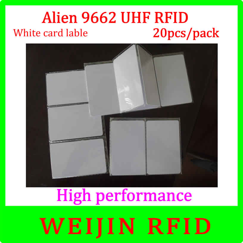 Alien authoried 9662 860-960MHZ UHF RFID Card 20 pcs per pack Alien Higgs3 915M EPC 54x86x0.9mm PVC card free shipping