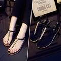 2016 Summer Women New European Sequin Flat Thong T-strap Student Flat Casual sandals Roman PU shiny glitter simple Flip Flops