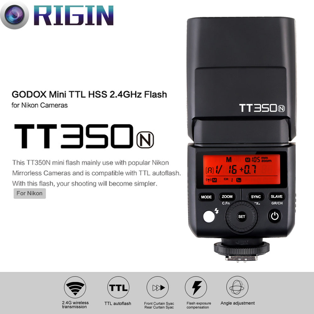 Godox Mini Thinklite i-TTL TT350N Camera Flash High Speed 1/8000s GN36 For Nikon Digital Camera godox mini thinklite i ttl tt350n camera flash high speed 1 8000s gn36 for nikon digital camera