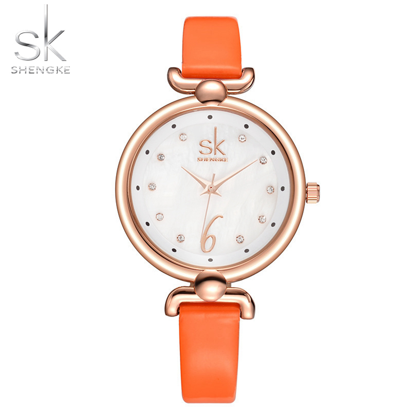 SK Womens Wirst Watch Young Ladies Thin Leather Watch Band Quartz Hours Safety Buckle Golden Dial Girls Watches New style Clock