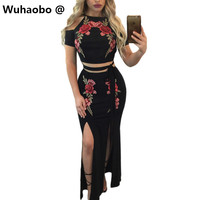 Wuhaobo New pattern Black Women Clothing 2017 2 Piece Summer Dress Short Sleeve Patchwork Floral Embroidery Sexy Dresses