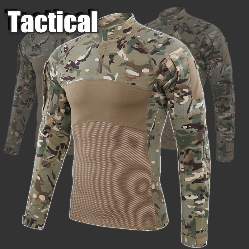 2019 Outdoor Camouflage Tactical T-shirt Airsoft Paintball Men Combat Military Army Shirts Uniform For Hiking Hunting Fishing